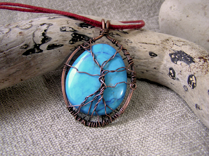 Blue gemstone Tree of Life pendant