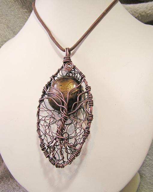 Tree of Life copper wirework pendant