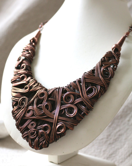 Chunky Copper Necklace Boudicca Wire Moon