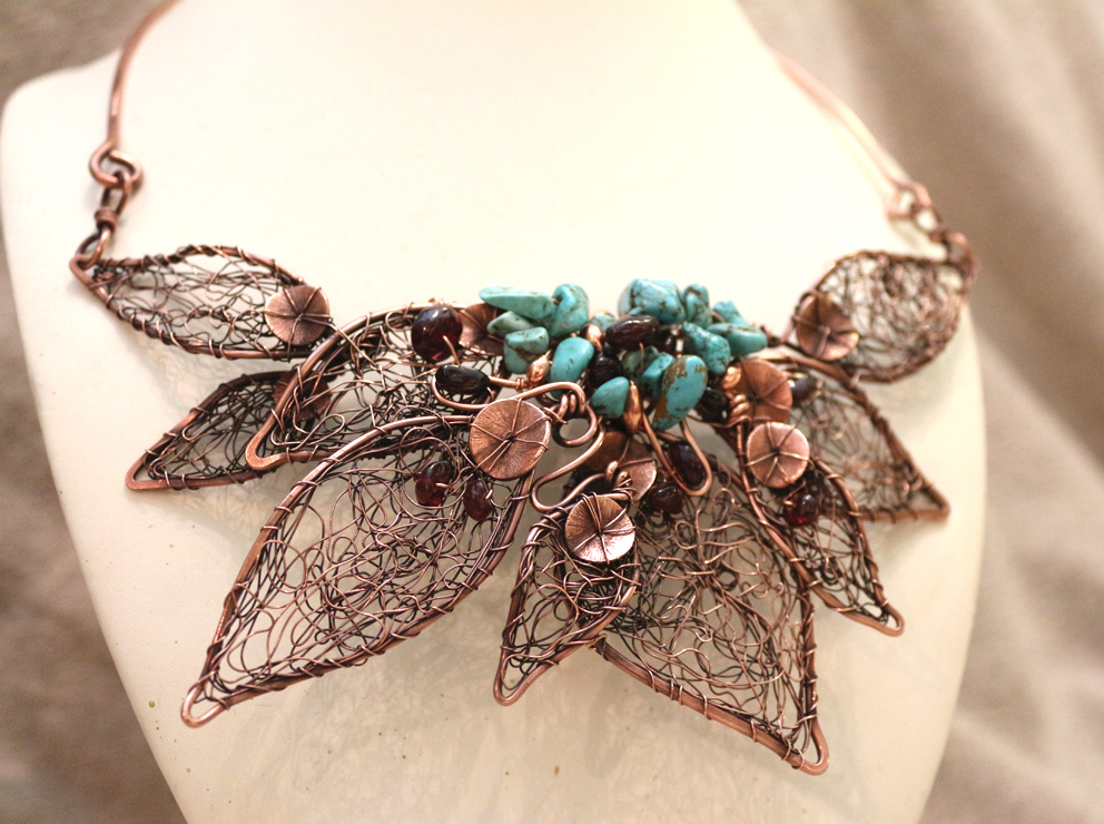 copper leaf garnet necklace 4