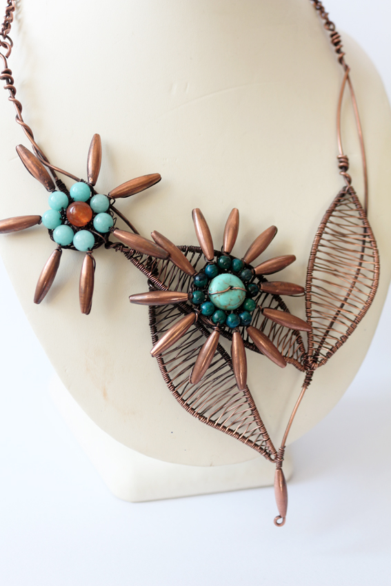 Bohemian copper wire necklace