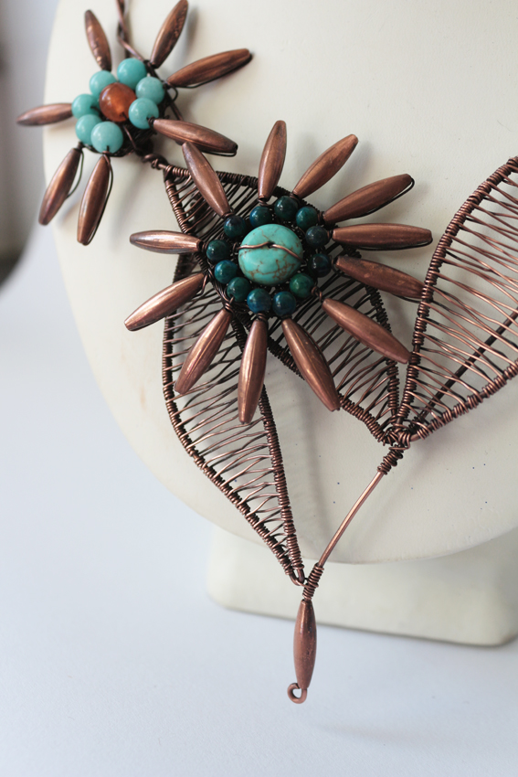 Copper wire work flower necklace