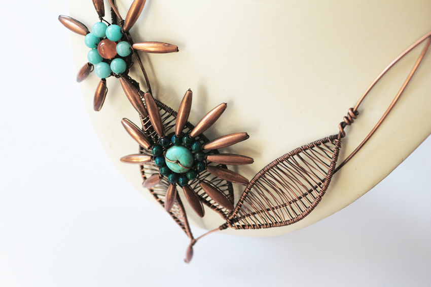 Woven copper wire necklace
